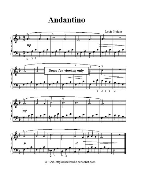 Suzuki Violin Andantino Intermediate Classical Piano Sheet Free
