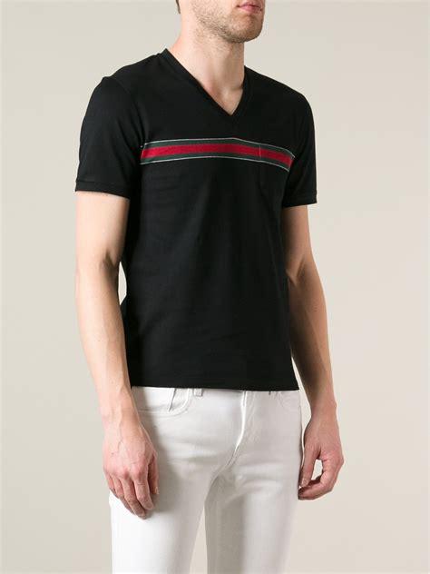 Hem Guchi Black gucci vneck tshirt in black for lyst