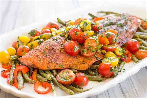 pan roasted harissa salmon  vegetables recipe