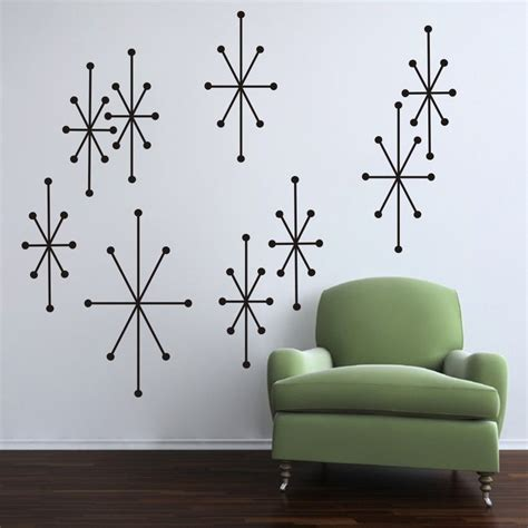 atomic home decor atomic starbursts wall decal mid century modern retro room