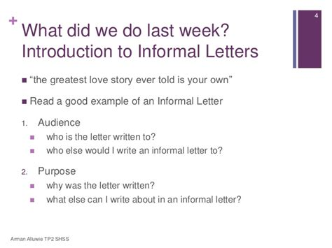 Introduction Letter Informal secondary 1 express lesson 3