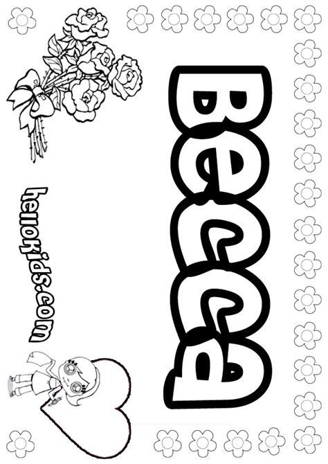 coloring pages with child s name becca coloring pages hellokids