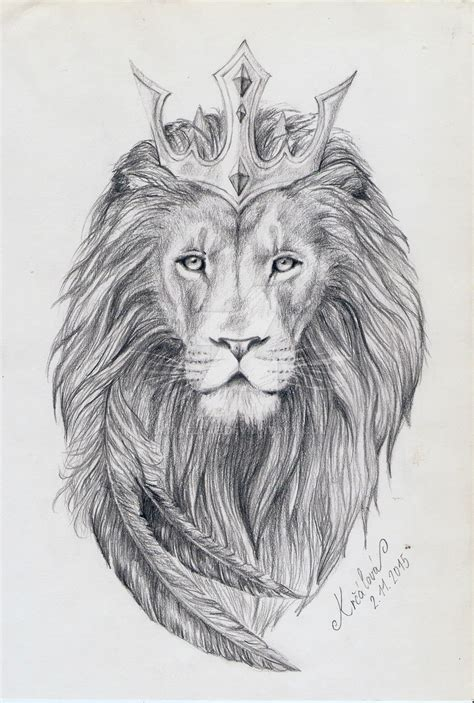 realistic lion king in crown tattoo design by miraelfae