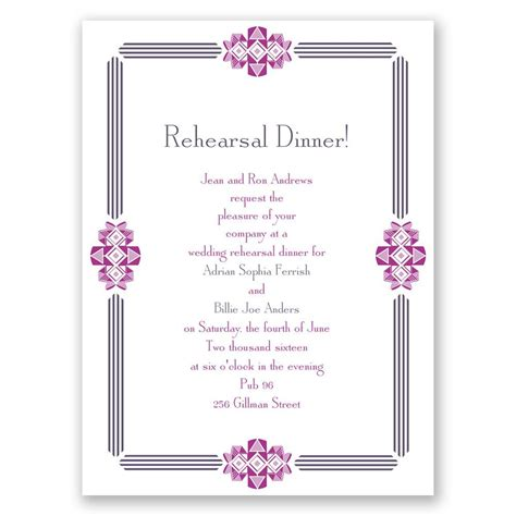 Dinner Invitation by Bling Border Rehearsal Dinner Invitation