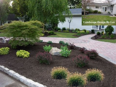 landscape designs for house with circular driveway