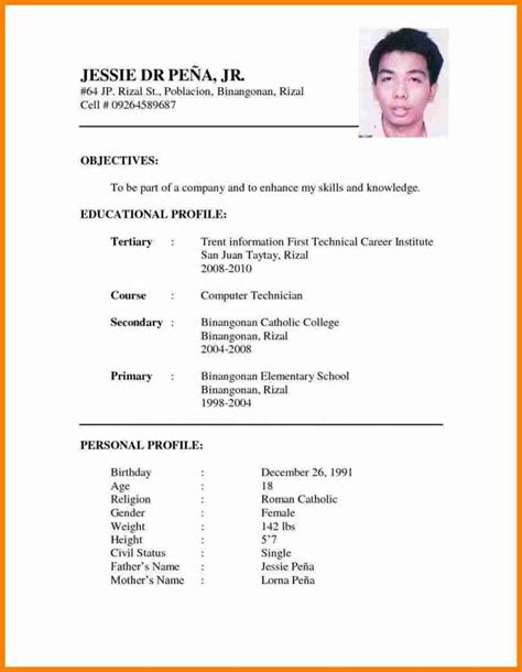 format of cv resume 6 curriculum vitae format for college students mail clerked