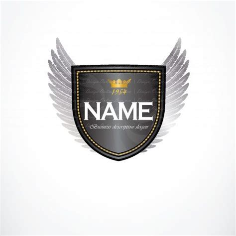 Wings Secutiry exclusive design gold wings shield logo compatible free business card logo design
