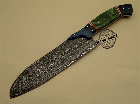 Handcrafted Knife - damascus kitchen knife custom handmade damascus steel kitchen