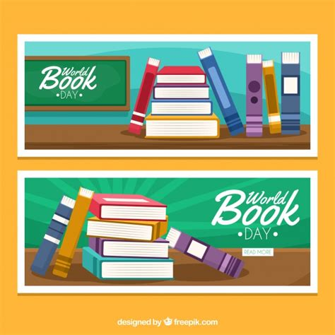 banner design book world book day banners with books in flat design vector