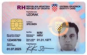sle of id card template croatian identity card