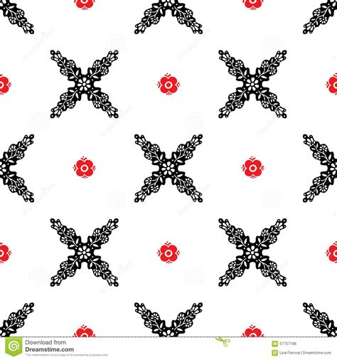svg pattern no repeat vector seamless ethnic pattern with red and black flowers