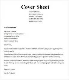 cover page template sle cover sheet template 9 free documents