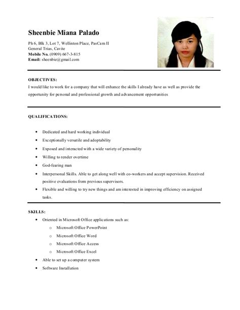 sle of resume for ojt tourism students resume sheenbie palado