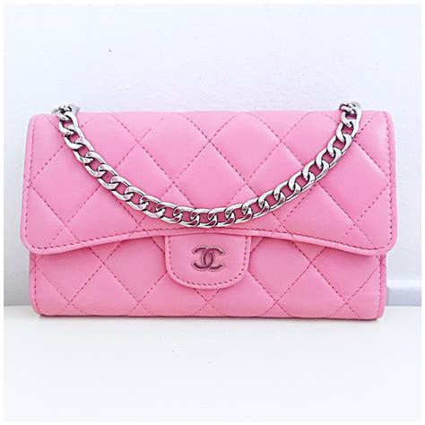 Poses With Chanel Flower Flap As Clutch by Chanel Classic Flap Wallet With Chain Added Pink