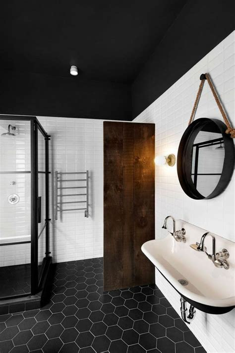 Black And White Tiled Bathroom Ideas 37 Black And White Hexagon Bathroom Floor Tile Ideas And Pictures
