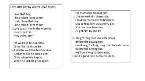 boy on a swing poem analysis love that boy by walter dean myers ppt video online download