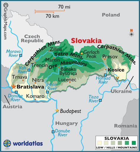 where is slovakia on the map slovakia large color map