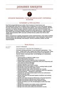 Food Quality Manager Sle Resume by Exle Of Tourism Resume