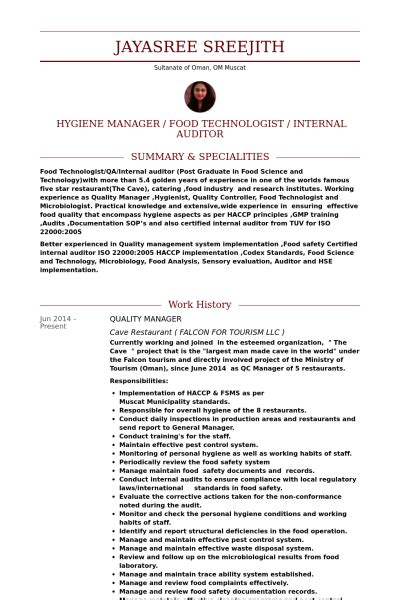 Resume Template Quality Manager Quality Manager Resume Sles Visualcv Resume Sles Database