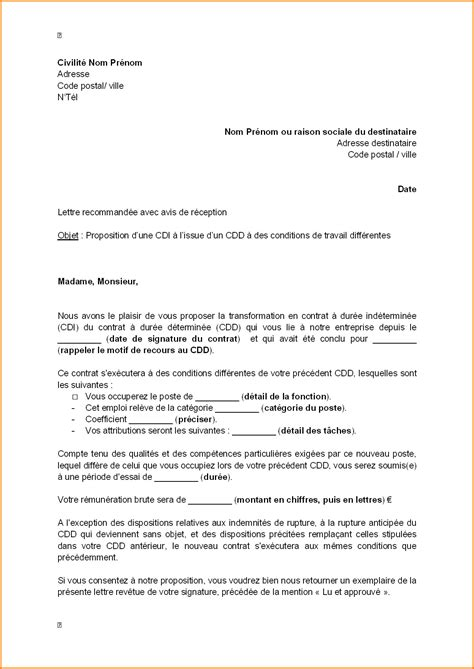 Modele De Lettre Rupture De Contrat Cdd à L Amiable
