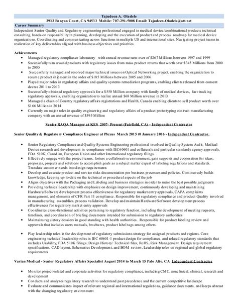 Regulatory Compliance Engineer Cover Letter by Best Engineering Resume Sles Compliance Engineer Sle Resume Personal Development