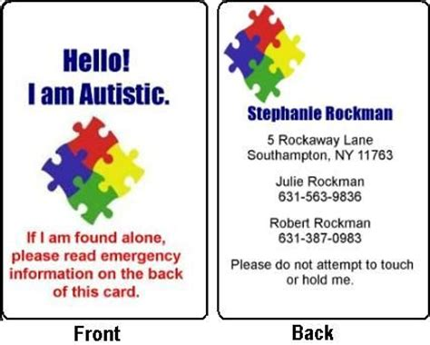 autism id card template the world s catalog of ideas