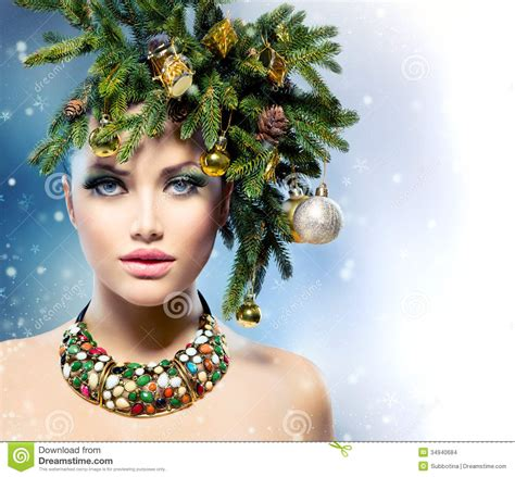 christmas tree hairstyle stock photo image of accessories 34940684