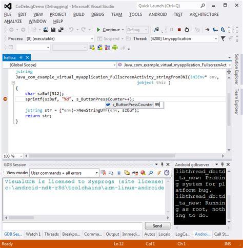 android studio debug co debugging jni with android studio and visual studio visualgdb tutorials