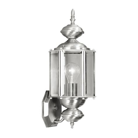 Nickel Outdoor Wall Light Shop Livex Lighting Basics 17 In H Brushed Nickel Outdoor Wall Light At Lowes