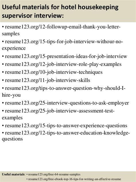 hotel housekeeping supervisor cv sle top 8 hotel housekeeping supervisor resume sles
