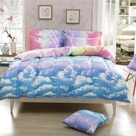 cloud bedding set 4piece king queen size rainbow bedding set cheap wholesale white cloud cotton bed