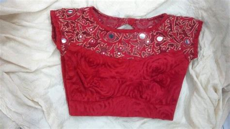 boat neck gale ka design velvet blouse with boat neck with mirror work on net 91