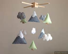 Family Tree Wall Mural mountains baby mobile modern nursery decor trees baby