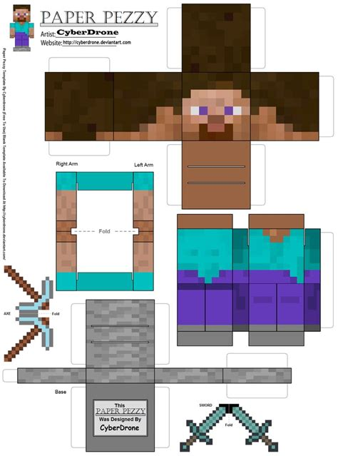 paper pezzy steve minecraft by cyberdrone on deviantart