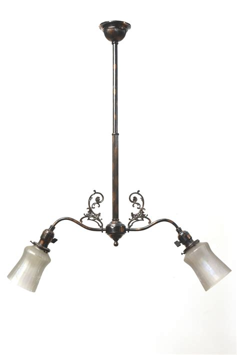 Two Light Early Electric Fixture With Copper Japanned Appleton Lighting Fixtures