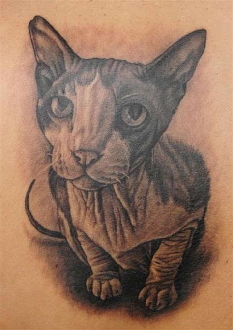 hairless cat tattoo sphynx cat by pepper tattoos