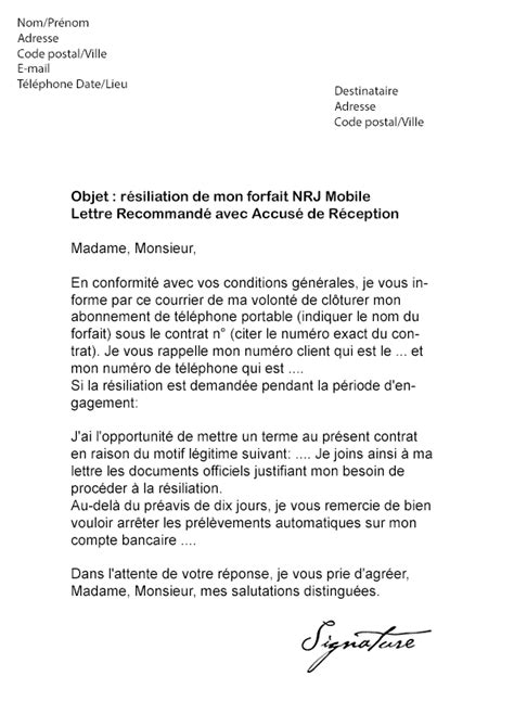 Lettre De Rã Siliation Mobile Fin D Engagement Modele Resiliation Forfait Mobile Document