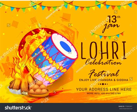 Lohri Invitation Cards Templates by Illustration Punjabi Festival Lohri Celebration Invitation