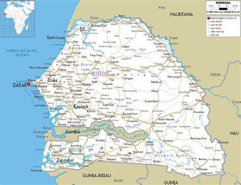 political map of senegal large detailed road map of senegal with all cities and
