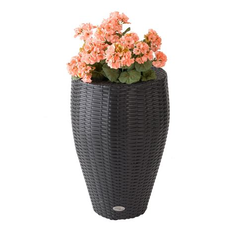 Resin Wicker Planters by 24 In Curved Resin Wicker Vista Planter Planters