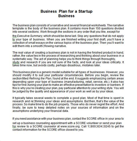 start up business plan template sle startup business plan template 7 free documents