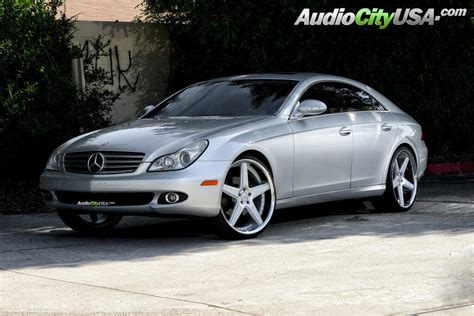 "2007 Mercedes Benz CLS 550 on 22"" Azad Wheels A0008 Silver"