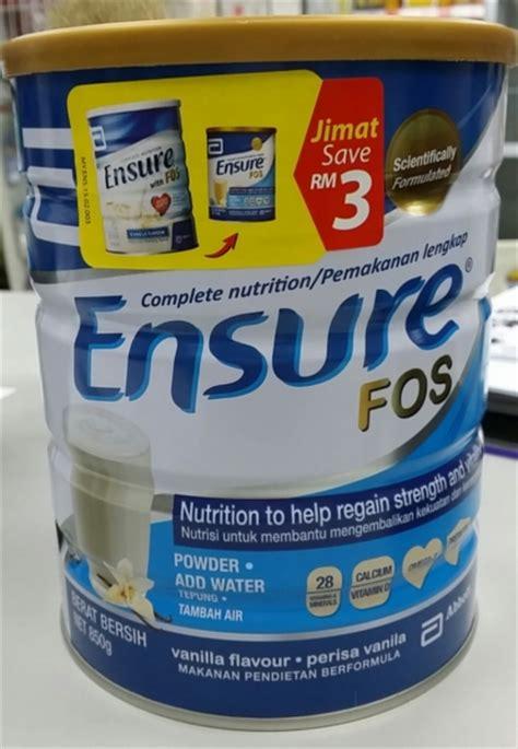 Abbott Ensure Fos Vanila 400gr abbott complete nutrition ensure with fos 850g