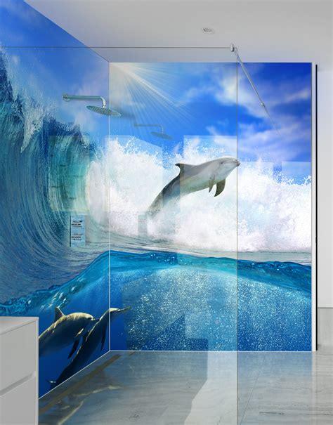 Bathroom Acrylic Shower Panel Dolphins Wave Printed Shower Panels Splash Acrylic
