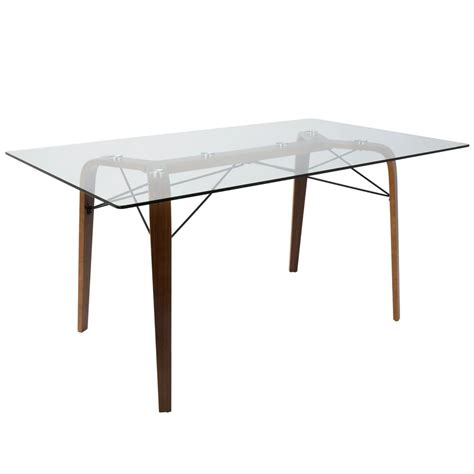 modern glass dining table lumisource trilogy mid century modern walnut rectangular