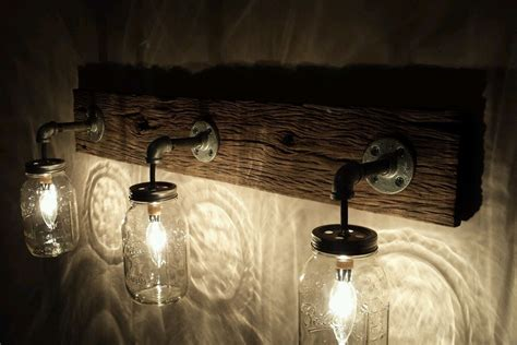 Barnwood Mason Jar Light Fixture Jars Light Fixture