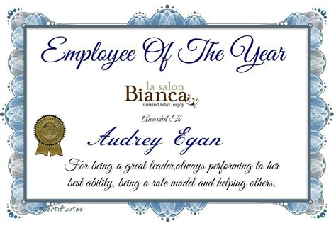 Employee Of The Year Certificate Template Update234 Com Employee Recognition Awards Templates