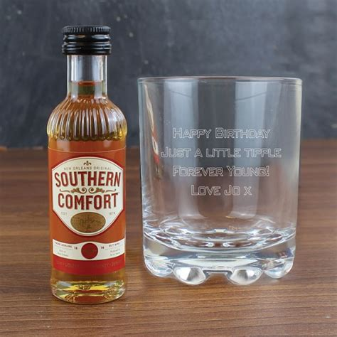 crystal comfort liqueur personalised whisky glass southern comfort miniature set