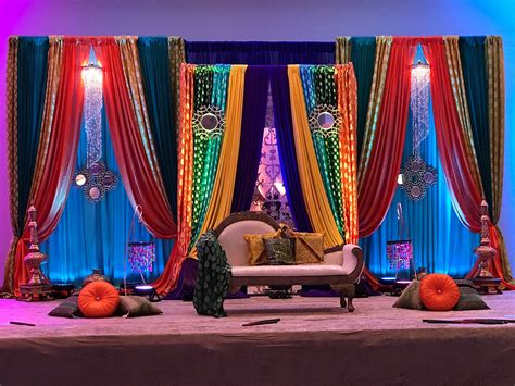mehandi sangeet moroccan pakistani indian colorful jewel tone colors decor  chandelier