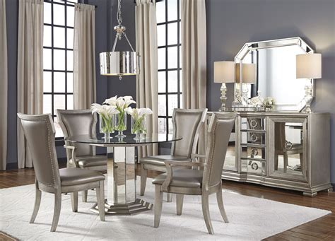 silver dining room set couture silver round pedestal dining room set p022230 31